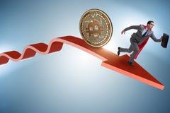 追逐在cryptocurrency价格崩溃的bitcoin商人 免版税库存图片