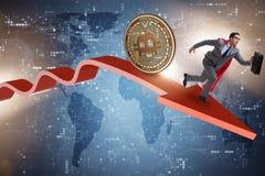 追逐在cryptocurrency价格崩溃的bitcoin商人 库存照片