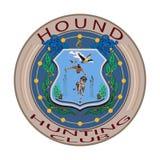 追逐狩猎俱乐部徽章在平的样式的传染媒介例证 库存照片