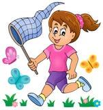 追逐蝴蝶题材图象1的女孩 免版税库存照片