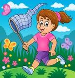 追逐蝴蝶题材图象2的女孩 免版税图库摄影