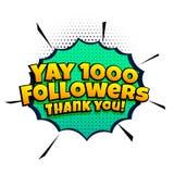 1000追随者在可笑的样式的成功模板 免版税库存图片