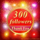 追随者背景 300个追随者例证与感谢您丝带的 也corel凹道例证向量 免版税库存图片