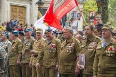 退伍军人在胜利天游行,塞瓦斯托波尔 免版税库存图片