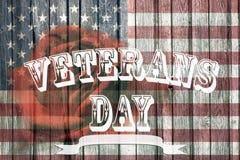 退伍军人日和美国国旗 免版税库存照片