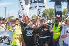 退伍军人的组织者和平的抗议游行 库存照片