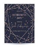 退休庆祝会邀请 设计与玫瑰色金多角形框架和五彩纸屑的模板 皇族释放例证