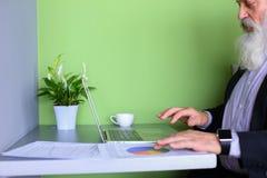退休的老政治人工作在计算机在办公室自白天 图库摄影