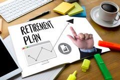 退休计划储款资深投资退休计划笔 库存照片