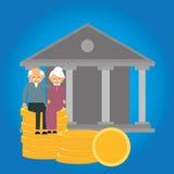 退休金退休基金硬币资深投资财务准备金钱储款 向量例证