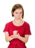 退出的少妇握紧拳头胳膊 库存图片