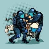 退化和进展概念,警察拘捕了宇航员 向量例证