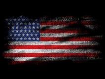 退色在黑Blackground的美国国旗 库存照片