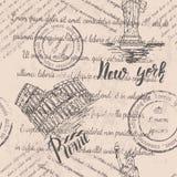 退色的文本、邮票和自由女神像与在纽约,大剧场上写字,在罗马上写字,无缝的样式 向量例证