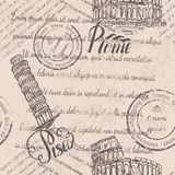 退色的文本,邮票,大剧场,在罗马上写字,比萨斜塔,在比萨上写字,无缝的样式 免版税库存照片