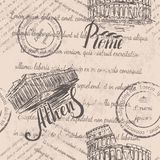 退色的文本,邮票,手拉的大剧场,在罗马上写字,手拉的雅典卫城,在雅典上写字,无缝的样式 图库摄影