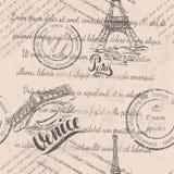 退色的文本,邮票,艾菲尔铁塔,在巴黎上写字,手拉Rialto桥梁,在威尼斯上写字,无缝的样式 库存照片