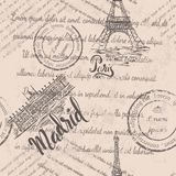 退色的文本,邮票,艾菲尔铁塔,在巴黎上写字,马德里王宫,在马德里上写字,无缝的样式 免版税库存照片