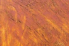 退色的黄色油漆的织地不很细背景与生锈的镇压的在生锈的金属 一种老破裂的金属的难看的东西纹理 免版税库存图片