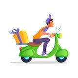送报员乘驾滑行车摩托车服务,命令,全世界运输,快速和任意运输 动画片传染媒介 库存图片