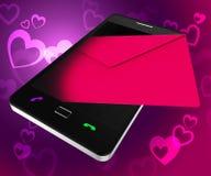 送爱电话展示热爱手机和智能手机 免版税图库摄影