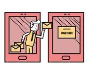 送电子邮件的人从巧妙的电话 免版税库存照片