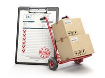 送货业务概念 有cardboar小包的纸盒的手推车 免版税库存照片