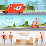 送货业务横幅 货物仓库工作者薄饼和食物运输的红色van motorcycle送货人 向量 向量例证