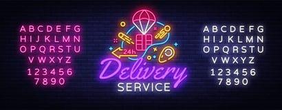 送货业务霓虹商标传染媒介 快速的交付霓虹灯广告,设计模板,现代趋向设计,夜氖牌 免版税图库摄影