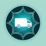 送货卡车象不可思议的玻璃状镶有钻石的旭日形首饰的蓝色按钮天蓝色背景 库存照片