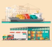 送货业务概念 容器货船装货,卡车装载者,仓库 免版税库存图片
