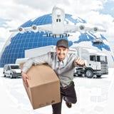 送货人和3d背景 库存例证