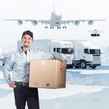 送货人和3d背景 向量例证