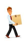 送货人运载纸板包裹 库存例证