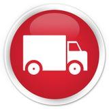送货卡车象优质红色圆的按钮 免版税库存图片