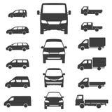 送货车在白色背景的卡车象 也corel凹道例证向量 免版税图库摄影