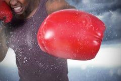适合人的综合图象有拳击手套的 免版税库存照片