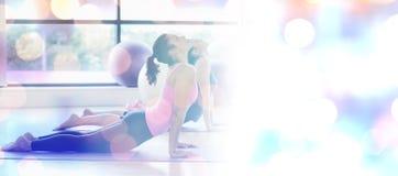 适合妇女的综合图象做眼镜蛇的在健身演播室摆在 免版税图库摄影