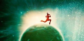 适合浅黑肤色的男人赛跑和跳跃的综合图象 免版税库存图片