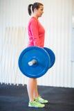 适合的在健身房的妇女举的杠铃 免版税库存照片