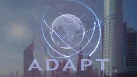 适应与3d行星地球的全息图的文本反对现代大都会的背景 向量例证