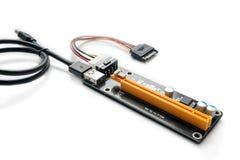 适配器或造反者开采的PCI-E在显示卡 免版税图库摄影