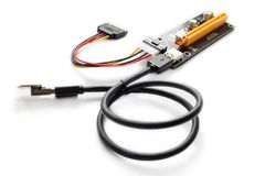适配器或造反者开采的PCI-E在显示卡 免版税库存图片