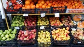 逆农夫用不同的品种苹果  免版税图库摄影