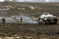 逆恐怖分子操作的重建在军事巴德里的 图库摄影