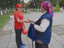 选举前鼓动竞选在戈梅利地区在白俄罗斯 免版税库存照片