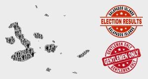 选举加拉帕戈斯群岛拼贴画映射,并且被抓的先生们只盖印 皇族释放例证