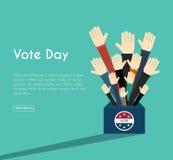 总统选举天表决箱子 美国人Flag& x27; s符号Ele 免版税库存图片