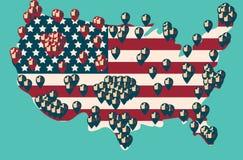 总统选举天表决 美国人Flag& x27; s符号元素 图库摄影