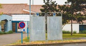 总统选举的竞选广告牌在法国 免版税库存图片